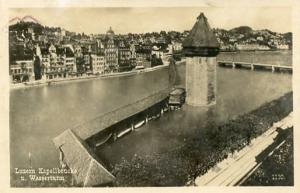 Switzerland - Luzern, Kapellbrucke u. Wassersturm (Water Tower)  *RPPC