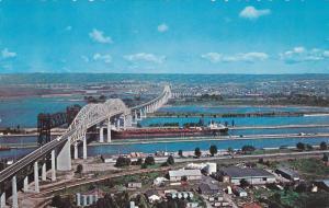 Aerial View, Sault Ste. Marie International Bridge, SAULT STE. MARIE, Ontario...
