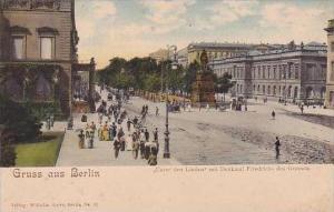 Germany Berlin Gruss Aus Unter Den Linden Mit Denkmal Friedrichs Des Grossens