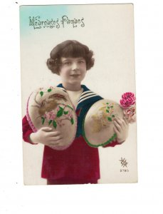HI1003 EASTER GREETINGS ART DECO 1920 WITH BIG PAINTED EGGS