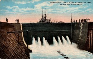 Washington Bremerton Puget Sound Navy Yard Flooding Dry Dock Curteich