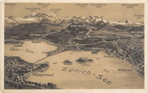 RPPC Zürich, Rapperswil, Ober-See, Switzerland Map ca 1930s Vintage Postcard