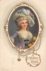 A Merry Christmas Xmas! Medallion, Fashion Woman, Fancy Hat, Dress, Flowers 1913