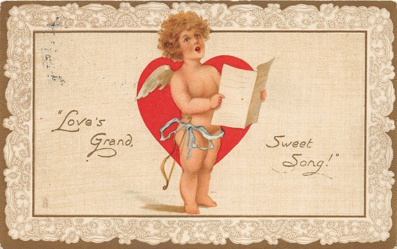 G47/ Valentine's Day Love Holiday Postcard c1910 Singing Cupid Grand 7