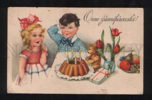 058067 Colorful Kids & TEDDY BEAR vintage Greeting