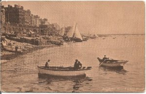 Brighton Beach and Sea Front Sailboats and Canoes in Sienna Tones Sepia Vintage