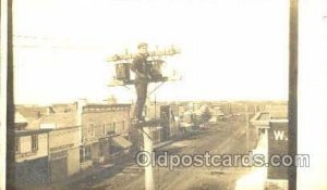 Utility Pole Workers, Telephone, Electric, Elecrical Linemen, Real Photo 1907...
