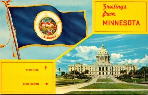 Minnesota Greetings Showing State Capitol and State Flag