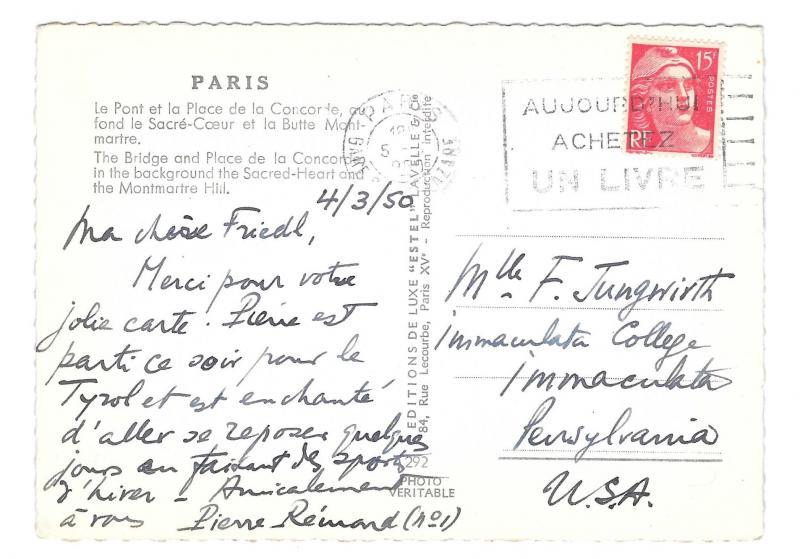 France Paris Pont Bridge Place de le Concorde Glossy Photo ESTEL Postcard 4X6