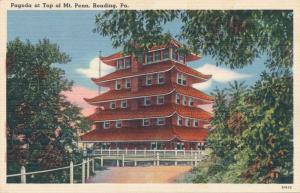 Reading PA Pennsylvania Pagoda on Mt Penn (Patterned after Nagoya Castle) Linen