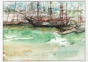 Ships at Old Port Harbour Montreal Canada Sketch Painting Postcard