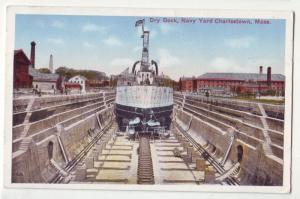 P215 JL 1915-30 postcard ship dry dock navy yd charlestown