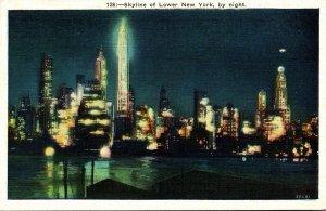 New York Skyline Of Lower New York By Night