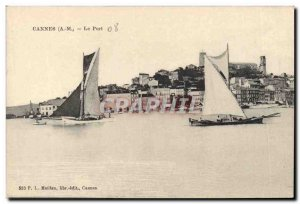 Old Postcard Boat fishing Cannes Harbor