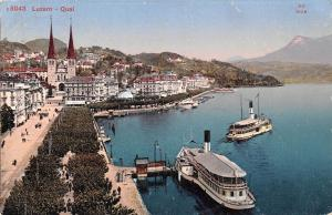 Switzerland Luzern - Quai ship schiff 1912
