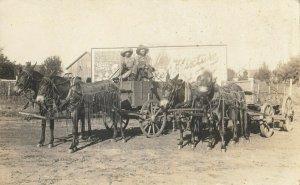 RP: EL RENO , Oklahoma , 1900-10s ; Wagons in front of El Reno Ice Cream Sign