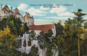 Crescent Hotel With Catholic Church In Foreground Eureka Springs Arkansas