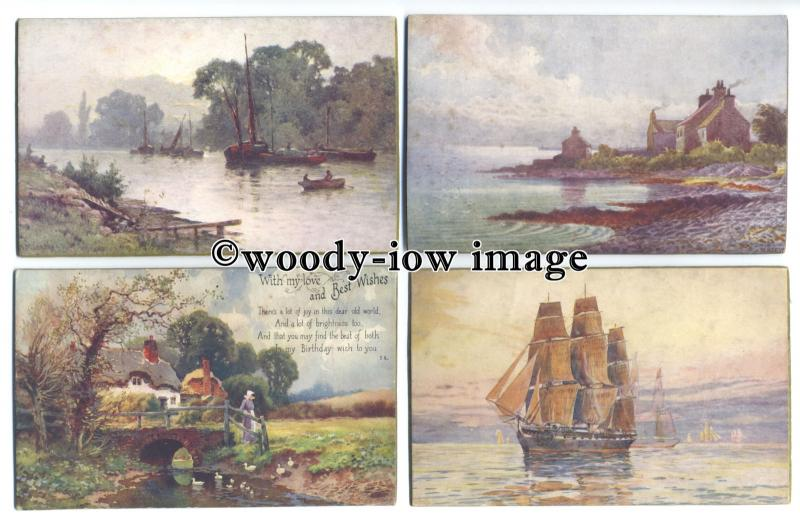 su2915 - 7 Art Panel postcards of country and sea scenes