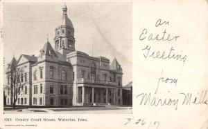 Waterloo Iowa Court House Street View Antique Postcard K63767