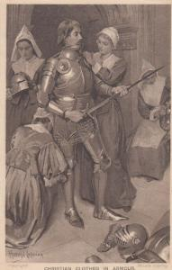 Christian Gladiator Battle In Armour Maidens Attending + Shield Antique Postcard