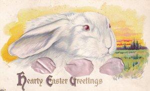 EASTER; PU-1916; Greetings, White Rabbit Portrait, Pink Ribbon threaded throu...