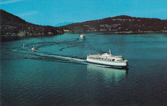 Canada Aerial View B C Ferry on Active Pass