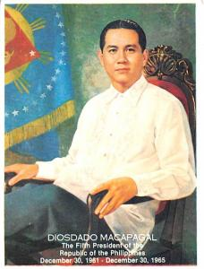 Philippines Old Vintage Antique Post Card Diosdado Macapagal Fifth President ...