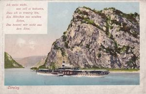 Steamer ship cruising in front of Loreley, Rhineland-Palatinate, Germany, 10-20s
