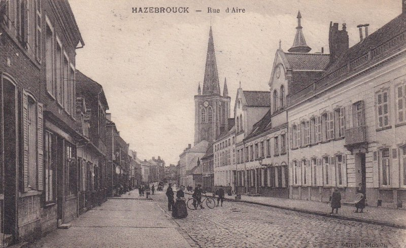 Hazebrouck La Rue D'Aire Bicycles Old French Postcard