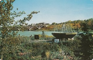 SASKATOON, Saskatchewan, Canada, 1940-60s; View of terraced gardens at rear o...