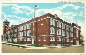 Oskakoosa Iowa~Early View High School~Tower to Left~Street Corner View~1920s