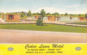 Waverly Iowa~Cedar Lawn Motel~Rooms With Telephones! RPPC 1940s Linen Postcard