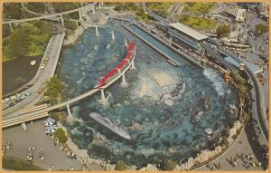 Anaheim, Calif., Disneyland, View of Tomorrowland , Monorail & Submarine Lagoon