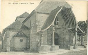 France, AVON, Porche de l'Eglise, early 1900s unused Postcard CPA