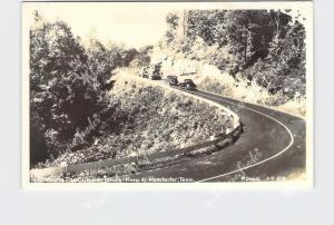 RPPC REAL PHOTO POSTCARD TENNESSEE MANCHESTER CLIMBING THE CUMBERLANDS HWY 41 AN