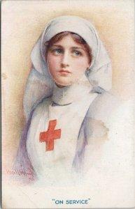 Red Cross Nurse 'On Service' Harold Copping Tuck #8845 Unused Postcard F62