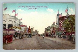 Coney Island NYC Amusement Skating Park, Loop the Loop Vintage New York Postcard