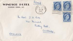 Windsor Hotel Dawson Creek BC Canada 1950s Cover Envelope