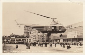 RP: NEW YORK CITY , 40-50s ; SABENA Helicopter at airport