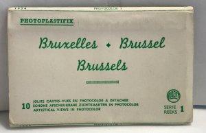 Vintage Brussels Photoplastifix Souvenir Postcard Folder 1954 - 4 Cards