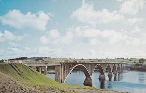 The Hugh John Flemming Bridge over the Saint John River at Hartland,  N.B.,  ...