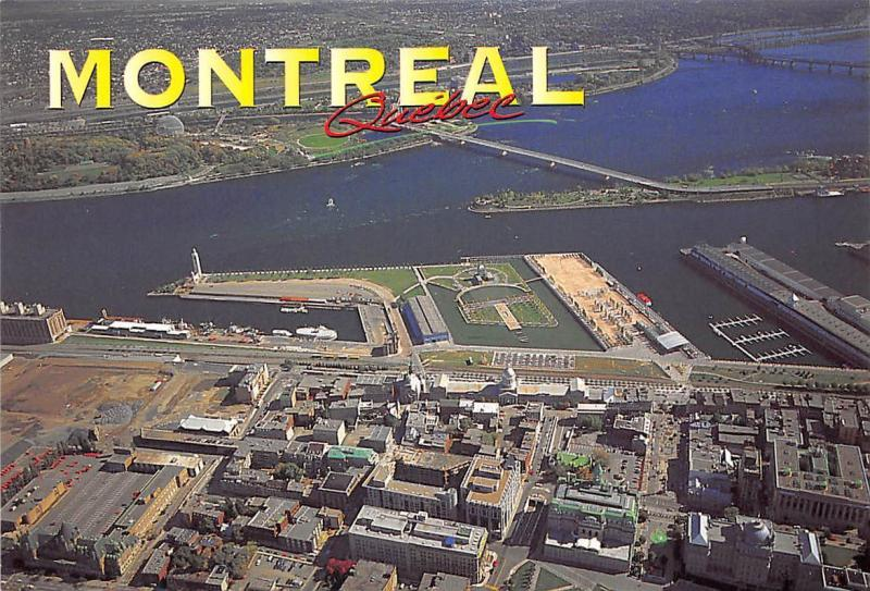 Canada Montreal An aerial view of Ile Ste Helene Boats
