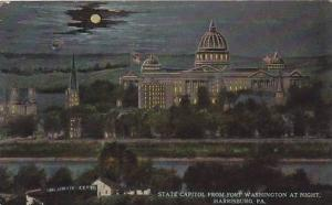 State Capitol from Fort Washington at Night, Harrisburg, Pennsylvania,  PU-1913