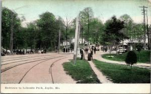 Joplin MO~Trolley Rounds Curve @ Lakeside Park Entrance~Ladies & Gents~1908