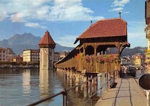 Switzerland Luzern Kapellbruecke Chapel Bridge Auto Cars