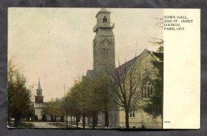 dc480 - PARIS Ontario 1912 Town Hall & Church. Antique Postcard