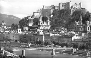 Salzburg Altstadt u. Salzach Bruecke Bridge River Church Panorama