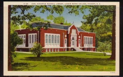 North Carolina colour PC Rudisill Library Lenoir Rhyne College, unused