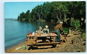 Family Camping Picnic Table Vintage Coleman Propane Camp Stove Postcard D36