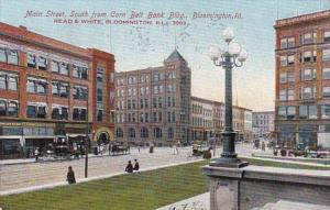 Illinois Bloomington Main Street Looking South From Corn Belt Bank Building 1907